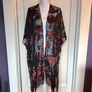 World Market Green Burnout Velvet Kimono NWOT Boho